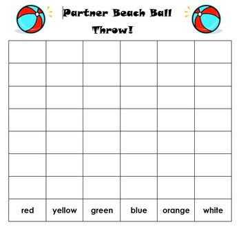 """Beach Ball """"Color Words"""" and """"Roll and Cover"""""""