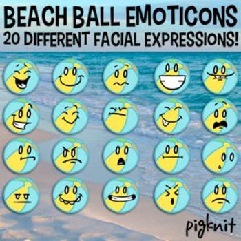Beach Ball Emoticons Clip Art | 20 Facial Expressions | Su