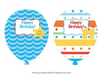 Beach Birthday Balloons - 4 Different Designs