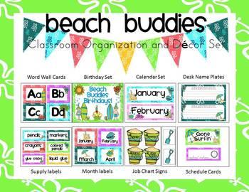 Beach Buddies (Tropical) Classroom Organization and Decor