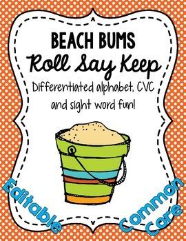 Beach Bums Roll Say Keep: Editable Alphabet, CVC & Sight W