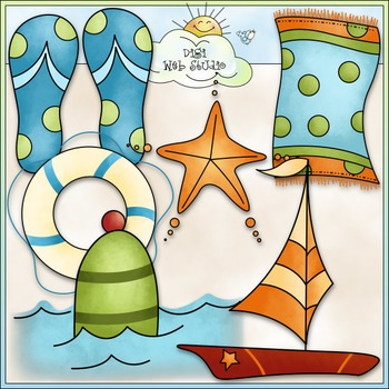 Beach Buoys Clip Art - Beach Clip Art - Summer Clip Art -