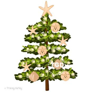 Beach Christmas Tree Clip Art Printable Tracey Gurley Designs
