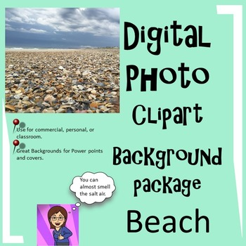 Beach Clipart Digital Photo Background: 34 :Commercial or
