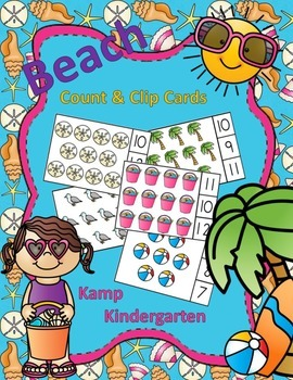Beach Count and Clip Cards (Sets to 12)