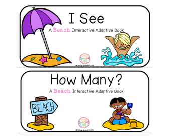 "Beach Day Interactive Adaptive books - set of 2 (""I See an"