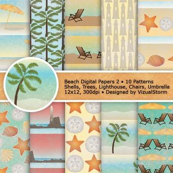 Beach Digital Paper, 10 Summer Background Patterns, Seashe