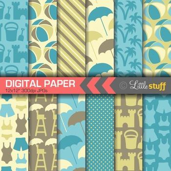 Beach Digital Paper, Summer Digital Backgrounds, Blue, Yel
