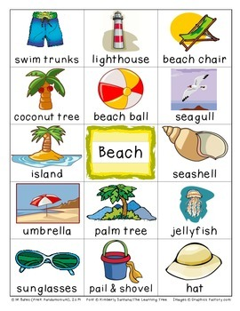 Beach Flashcards Theme Words Poster Vocabulary Pictionary