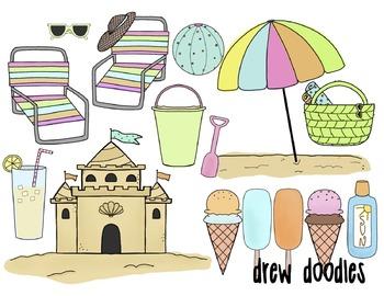 Beach Fun Digital Clip Art Set