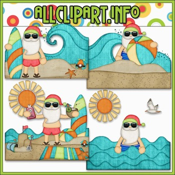 BUNDLED SET - Beach Fun Santa Scenes 1 Clip Art & Digital