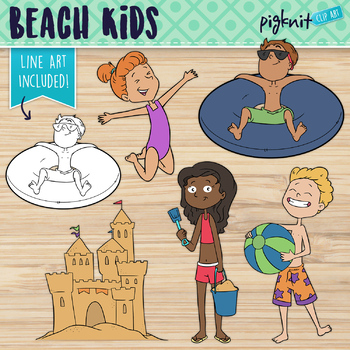 Beach Kids Clipart | Summer Vacation Clip Art | Sand Castl