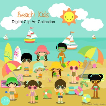 Beach Kids Series 2 Digital Clipart, clip art