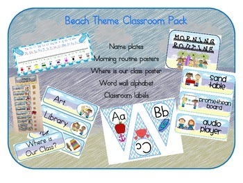 Beach Labels Classroom Pack