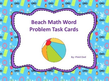 Beach Math Word Problem Task Cards