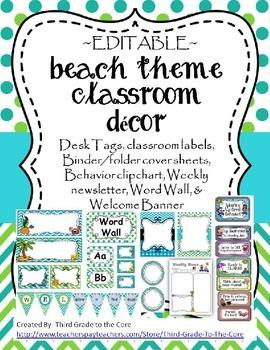 Beach / Ocean Theme Classroom Decor - Editable
