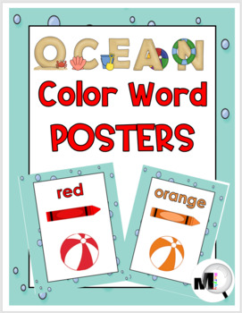 Beach Theme - Ocean Theme Color Words Posters