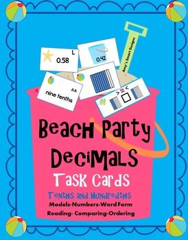 Beach Party Decimal Task Cards