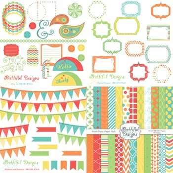 Beach Party Digital Paper and Clip Art Kit Teacher Supplies