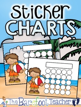 Beach Party Sticker Incentive Charts - Full Color and Less