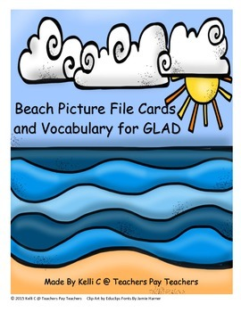 Beach Picture File Cards and Vocabulary for ESL Learners-