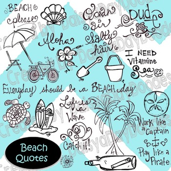 Beach Quotes - Line Art
