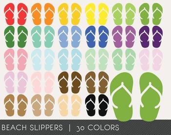 Beach Slippers Digital Clipart, Beach Slippers Graphics, B