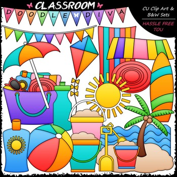 Beach Stuff Clip Art - Summer Clip Art & B&W Set