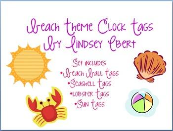 Beach Theme Clock Tags