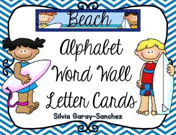 Beach Theme Cursive Alphabet and Word Wall Letter Cards