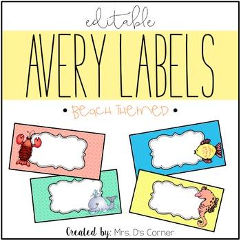 Beach Theme Editable Classroom Labels 2x4 { Avery Label 8163 }