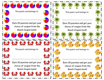 Beach Theme Incentive Punch Cards