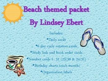 Beach Theme Packet {days of the week, numbers, specials, l