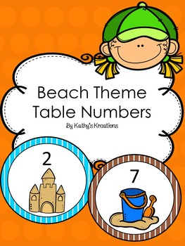 Beach Theme Table Numbers