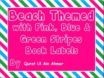 Beach Themed Classroom Library Book Labels with Pink, Blue