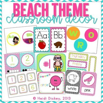 Beach Themed Classroom Decor with Color/Shape Posters