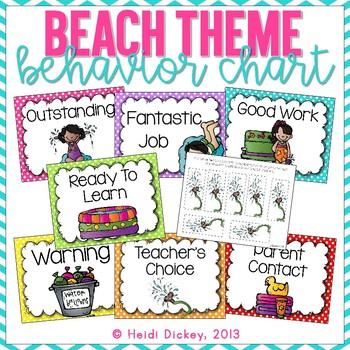 Beach Themed Clip Chart and Behavior Log: Behavior Managment Tool