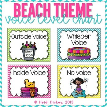 Beach Themed Clothespin Voice Level Chart