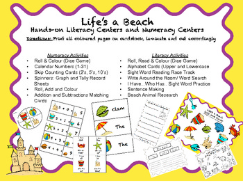 "Beach Themed Literacy and Numeracy Unit for K-2 ""Life's A Beach"""