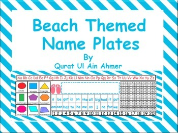 Beach Themed Name Plates With Blue Stripes: