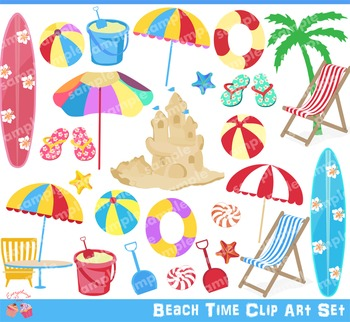 Beach Time Clipart Set
