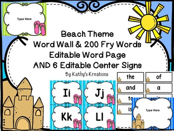 Beach Word Wall -Editable (With Editable Beach Posters)