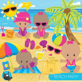Beach baby clipart commercial use, graphics, digital clip