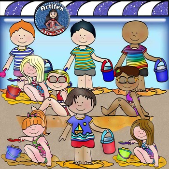 Beach day clip art -Color and B&W-