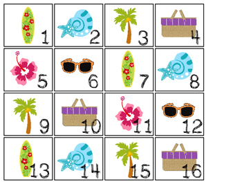 Beach themed Printable Calendar Pieces Classroom Bulletin
