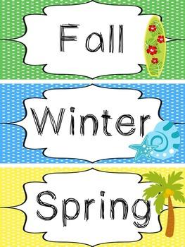 Beach themed Printable What Is the Season Bulletin Board S