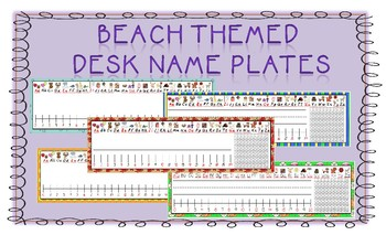 Beach/Summer Themed Desk Name Tags (Manuscript/D'Nealian)