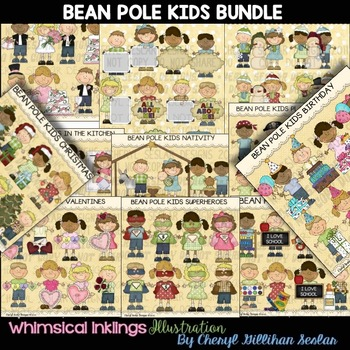 Bean Pole Kids Bundle  NO LICENSE REQUIRED CLIPART COLLECTION