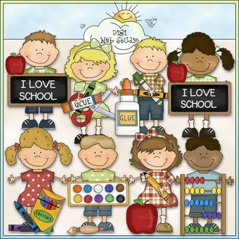 Bean Pole Kids: School Clip Art - CU Colored Clip Art