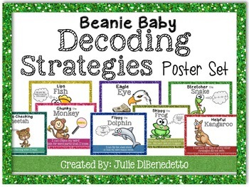 Beanie Baby Decoding Strategies Poster Set